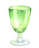 水彩绿色玻璃烧杯 免版税库存照片