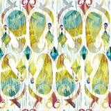 水彩绿色ikat充满活力的无缝的样式 时髦部族在水彩样式 孔雀羽毛 免版税库存照片