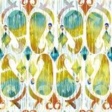 水彩绿色ikat充满活力的无缝的样式 时髦部族在水彩样式 孔雀羽毛 图库摄影