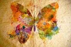 水彩蝴蝶,老纸背景 免版税图库摄影