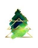 水彩 风格化抽象圣诞树绿色和金子 库存图片