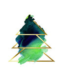 水彩 风格化抽象圣诞树绿色和金子 图库摄影
