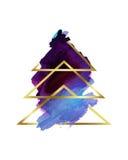 水彩 风格化抽象圣诞树紫色和金子 免版税图库摄影