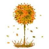 水彩绘画,与落的橙色秋天树在g离开 免版税库存照片