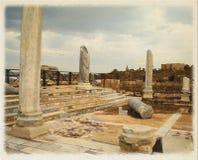 水彩绘画,希律王的宫殿废墟的数字式模仿 库存图片