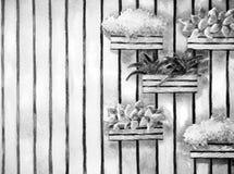 水彩绘画,手拉在纸,垂直的庭院例证 库存照片
