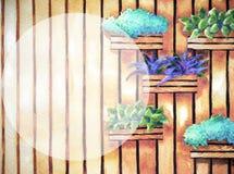 水彩绘画,手拉在纸,垂直的庭院例证 免版税库存图片