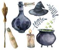 水彩helloween魔术集合 手画瓶毒物,大锅用魔药,笤帚,蜡烛,手指,巫婆帽子 库存例证