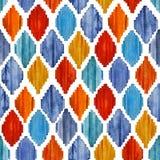 水彩ikat无缝的样式 充满活力的种族菱形 免版税图库摄影