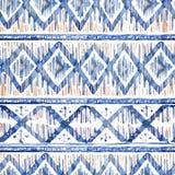 水彩ikat无缝的样式 在水彩的充满活力的种族菱形 库存图片