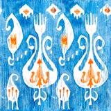 水彩ikat无缝的样式 装饰花卉在水彩样式 漂泊种族 图库摄影