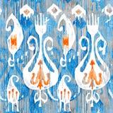 水彩ikat无缝的样式 装饰花卉在水彩样式 漂泊种族 库存照片