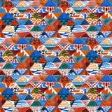 水彩ikat kilim补缀品种族无缝的样式 免版税库存图片