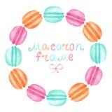 水彩macaron框架 免版税库存图片
