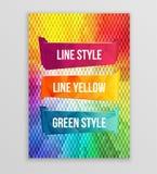 水彩poligon丝带和横幅文本的 水彩设计元素的汇集 抽象五颜六色的数据条向量 免版税库存照片