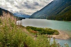 彭伯顿谷在吹口哨附近的河和Duffy湖路,加拿大作为秋天BC到达,并且风景改变肤色 免版税库存照片