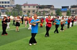 彭州,中国:人执行的Tai '池氏 库存图片