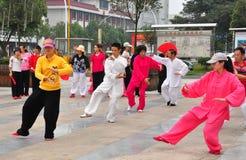 彭州,中国:人执行的Tai '池氏 免版税库存照片