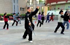 彭州,中国:人执行的Tai '池氏 库存照片