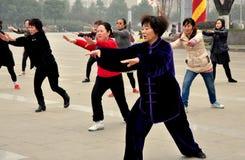 彭州,中国: 妇女的Tai '池氏组 图库摄影