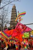 彭州,中国: 新年度风筝&塔 库存照片