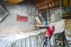 彰化陆康福兴手工制造面条- 2017年10月22日:传统方式烘干美好的面粉在台湾 库存照片