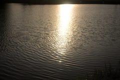 影响湖轻的星期日水波 图库摄影
