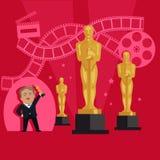影片奖设计平的横幅概念 向量例证