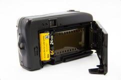 影片照相机的,老各种各样的葡萄酒35mm胶卷柯达金子 免版税库存照片
