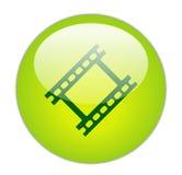 影片玻璃状绿色图标主街上 免版税库存图片