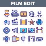 影片编辑,电影摄制线性传染媒介象集合 皇族释放例证