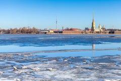 彼得和保罗堡垒在圣彼德堡,俄罗斯 库存照片