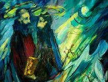 彼得和保罗,绘由在帆布的油 向量例证