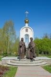 彼得和Fevronia雕塑在Dmitrov,俄罗斯 库存照片