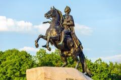 彼得大帝纪念碑(古铜色御马者) 库存照片