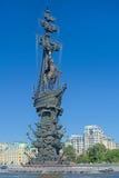 彼得大帝雕象在莫斯科,俄罗斯 免版税库存图片