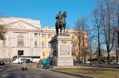 彼得大帝雕象在StPetersburg 俄国 免版税库存照片