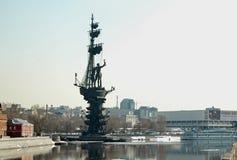 彼得大帝雕象,莫斯科河,莫斯科 免版税库存图片