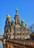 彼得斯堡俄国圣徒寺庙 图库摄影