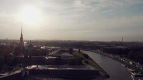 彼得斯堡俄国st 历史的市中心,彼得和保罗堡垒的看法 影视素材