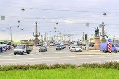 彼得斯堡圣徒 三位一体桥梁和苏沃洛夫广场 免版税库存照片