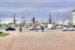彼得斯堡圣徒 三位一体桥梁和苏沃洛夫广场 免版税库存图片
