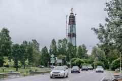 彼得斯堡圣徒 俄罗斯- 2017年7月01日 第一Sant-Petrsburg skycraper在Lakhta 免版税库存图片