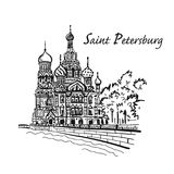 彼得斯堡圣徒 血液教会救主溢出了 俄国 您的设计的剪影 皇族释放例证