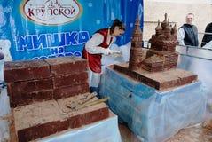 """彼得罗扎沃茨克,俄罗斯†""""2010年6月16日:酥皮点心巧克力工厂 免版税库存图片"""