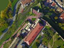 彼得罗瓦拉丁堡垒空气视图  免版税库存图片