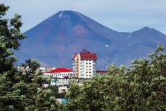 彼得罗巴甫洛斯克Kamchatsky市和Avacha火山 远东,俄国 免版税库存照片