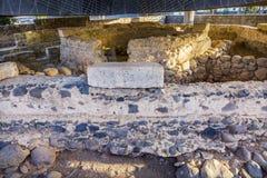 彼得` s议院多数地道基督徒站点Capernaum以色列 免版税库存照片