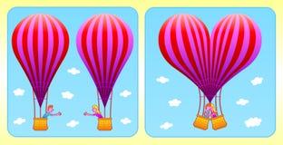他们彼此相爱…,并且两个气球转换成心脏。 库存图片
