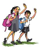 往学校 免版税库存照片